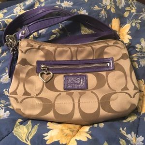 Coach - tan/purple purse
